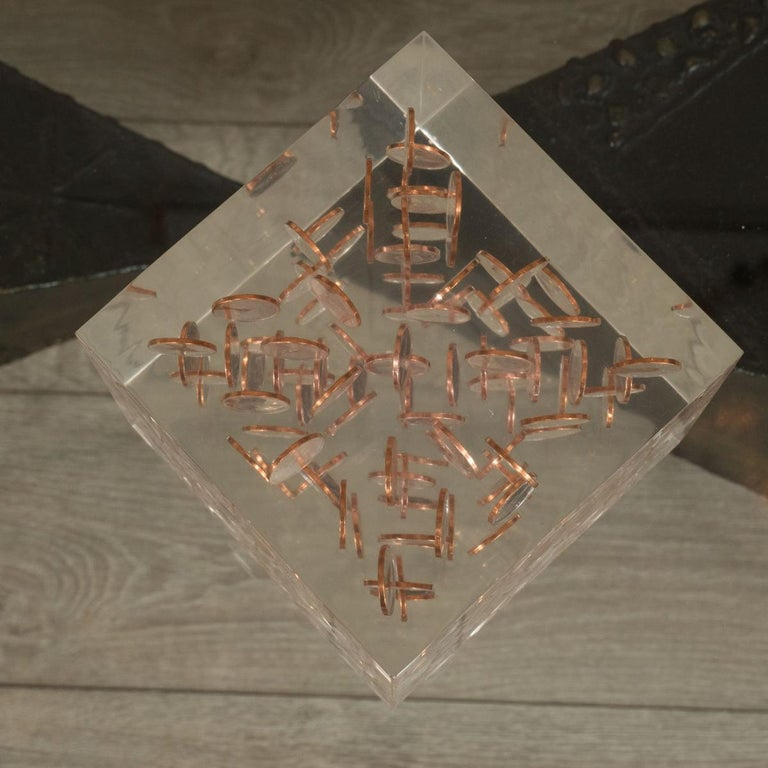 American Cubic Lucite Coinage Sculpture For Sale