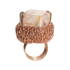 Cubic Marbled Jaspis in 14 Karat Gold Contemporary Cocktail Ring, Sheila Westera