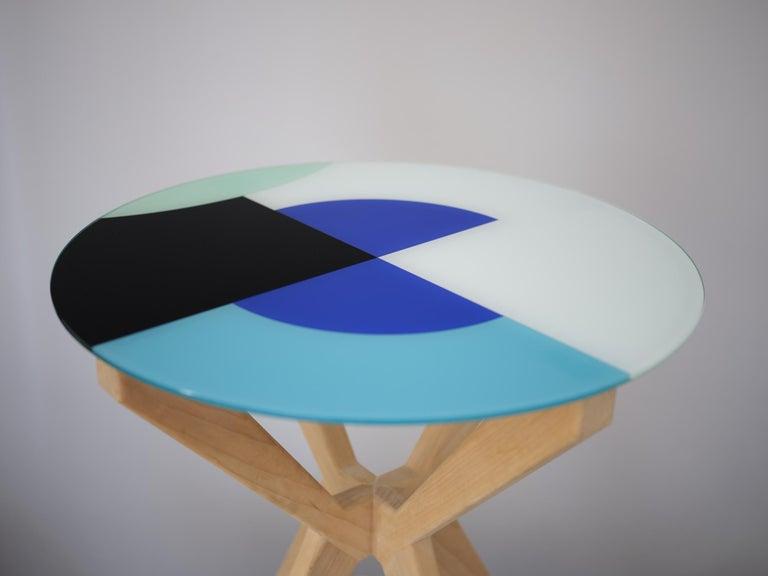 Art Deco Cubic Side Table, 4 Legs Version, Vinyl Glass Top For Sale