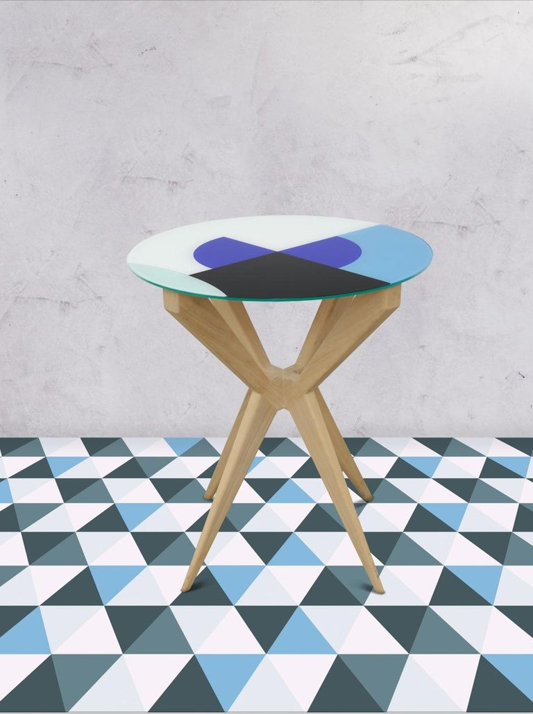 Spanish Cubic Side Table, 4 Legs Version, Vinyl Glass Top For Sale