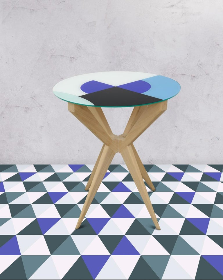 Cubic Side Table, 4 Legs Version, Vinyl Glass Top In Excellent Condition For Sale In Barcelona, ES