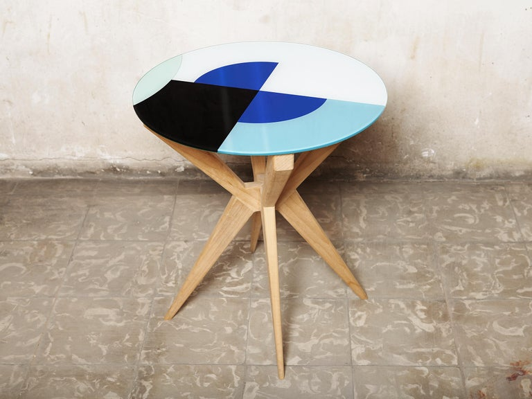 Contemporary Cubic Side Table, 4 Legs Version, Vinyl Glass Top For Sale
