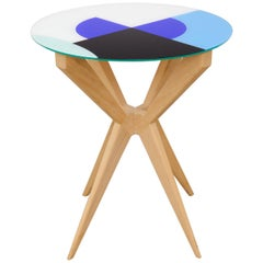 Cubic Side Table, 4 Legs Version, Vinyl Glass Top