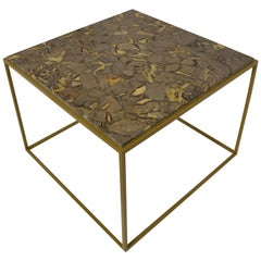 'Cubic' Square Turtle Jasper Gemstone Cocktail / Centre / Coffee Table