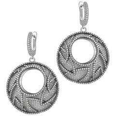 Cubic Zirconia Hollow Sterling Silver Drop Earrings