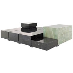 Cubica Marble Coffee Table, a Set of 6 Modules Nero Marquina & Verde Guatimala
