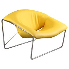 Cubique Chair with Steel Frame and Yellow Leather-Like Basis