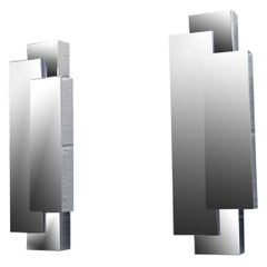 Cubism Modernist Pair of Chrome Wall Sconces