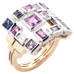 Cubism Pink and Purple Sapphire and Diamond Ring in 18 Karat Rose Gold