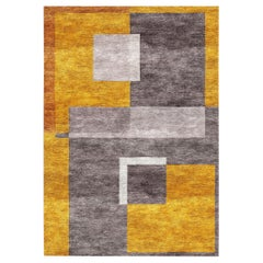 Cubism Refracted Silk Rug Gold Concrete Hand Knotted Contemporary Modern Design