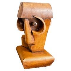 """""""Cubist Air Pilot,"""" Unique Wood Sculpture of 1920s Airplane Pilot, France"""