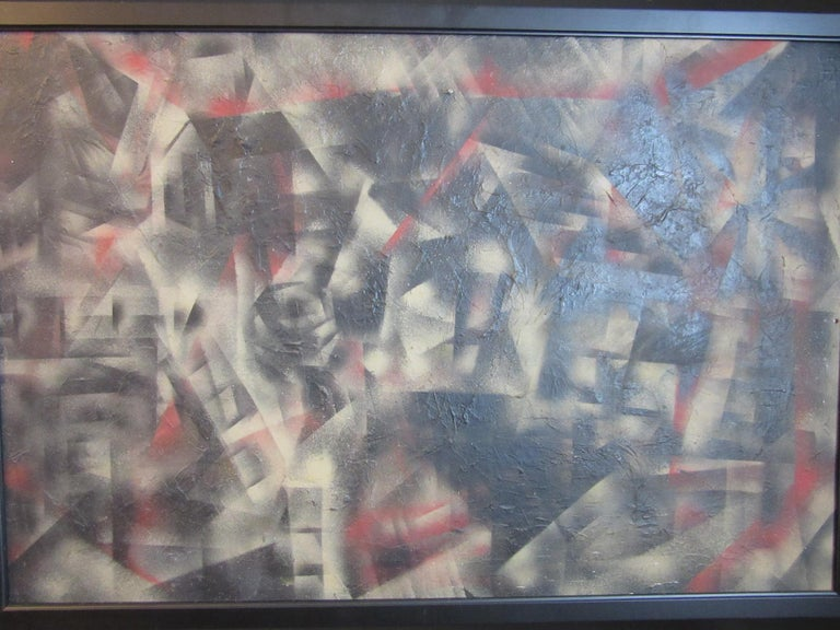 A framed mixed-media painting on board in shades of black, gray, sand and a touch of red with images of houses in a neighborhood, not signed but a very well executed piece purchased from a collection of Art Deco items. Nicely framed in a satin black