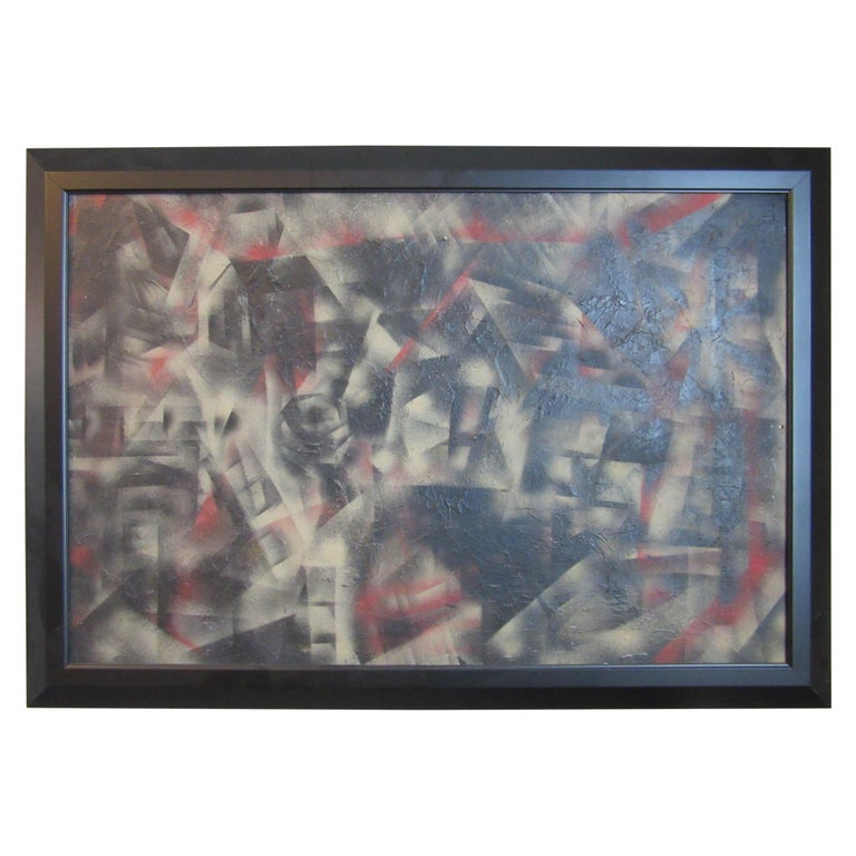 Cubist Art Deco Painting in the Style of George Braque For Sale