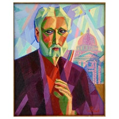 Cubist Art Deco Painting Man in Rome Louis Giraud France