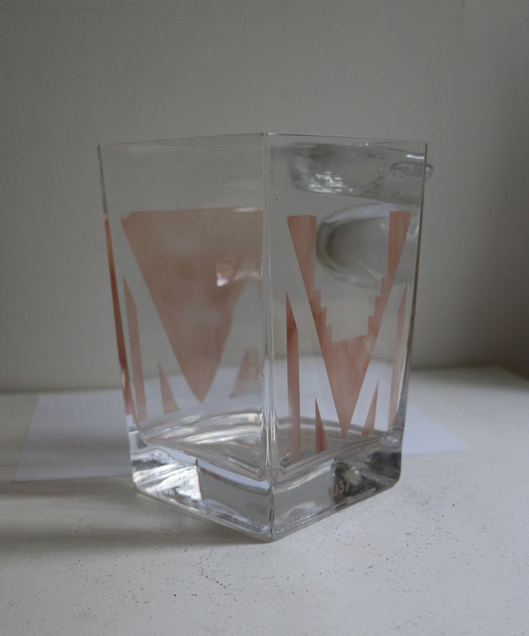 French Cubist Art Deco Vase by A Riecke, France, from Restaurant La Coupole, Dated 1937 For Sale