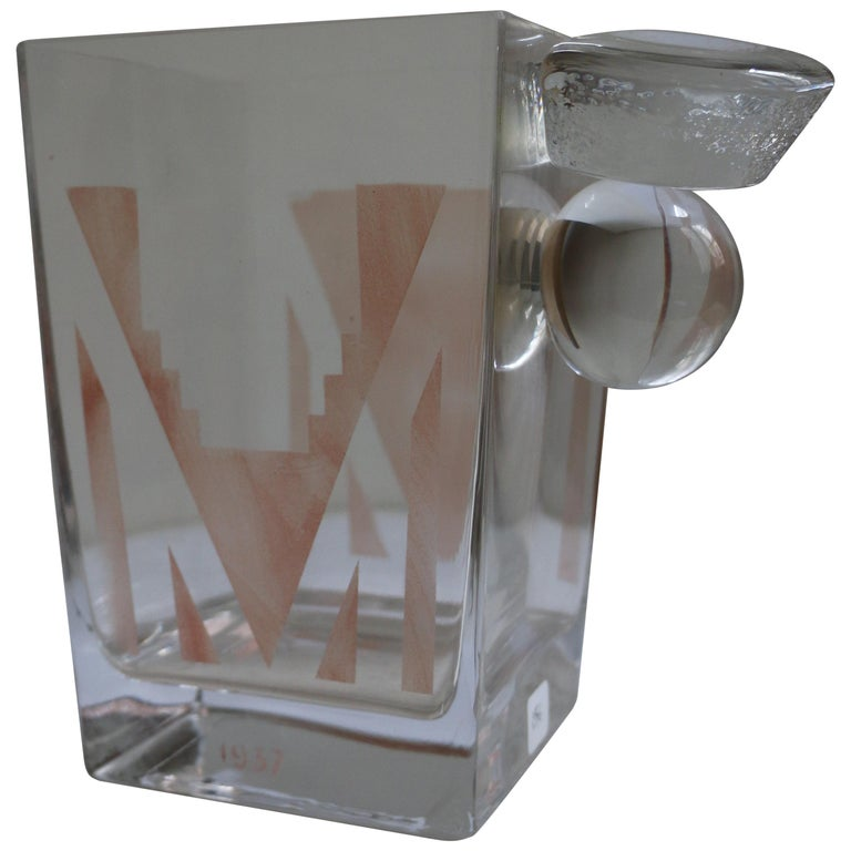 Cubist Art Deco Vase by A Riecke, France, from Restaurant La Coupole, Dated 1937 For Sale