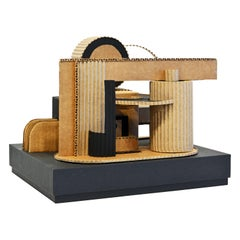 Cubist Bauhaus Style Architectural Cardboard Table Sculpture by Virgil Greca