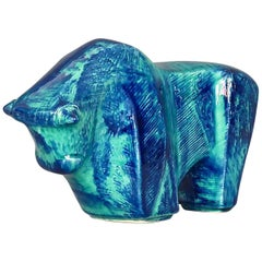 Cubist Bison Bull Sculpture Art Deco Style Blue Ceramic Italy 1970s Bitossi Era