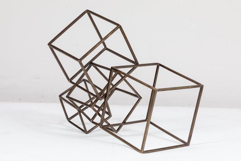 American Cubist Brass Sculpture For Sale