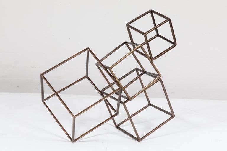 Cubist Brass Sculpture For Sale 1