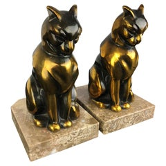 Cubist Cat Bookends by Franjou, France, 1930s
