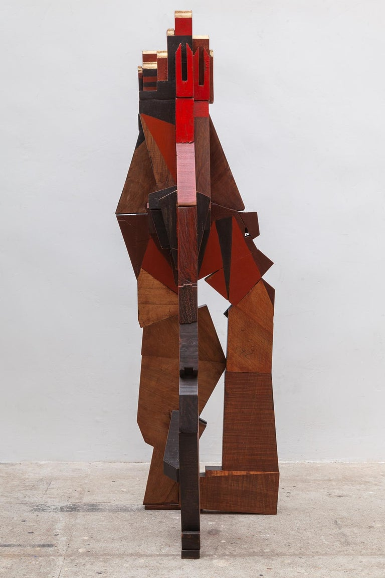 Belgian Cubist Cityscape Wood Sculpture Mid-Century Modern, Belgium, 1960s For Sale