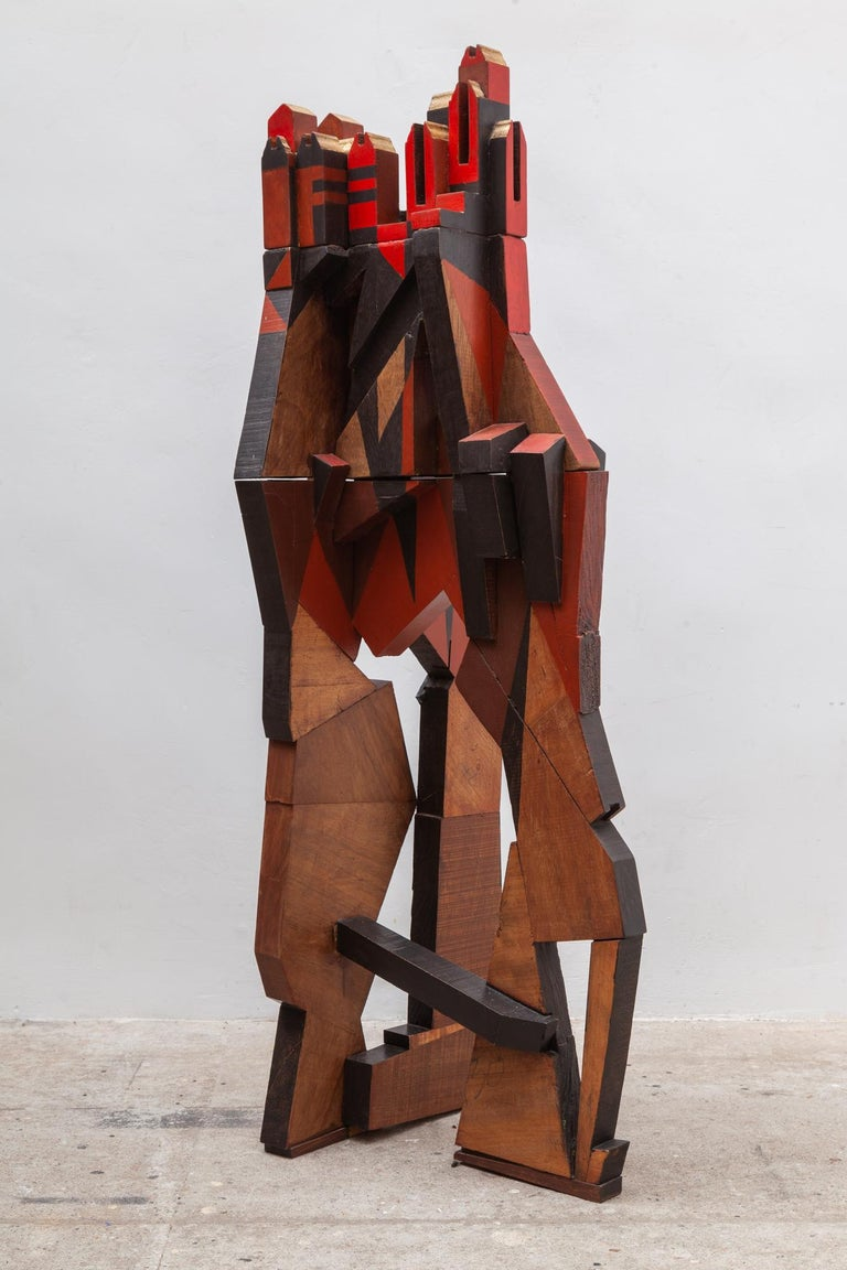 Hand-Crafted Cubist Cityscape Wood Sculpture Mid-Century Modern, Belgium, 1960s For Sale