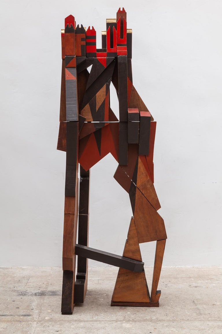 Cubist Cityscape Wood Sculpture Mid-Century Modern, Belgium, 1960s In Good Condition For Sale In Antwerp, BE