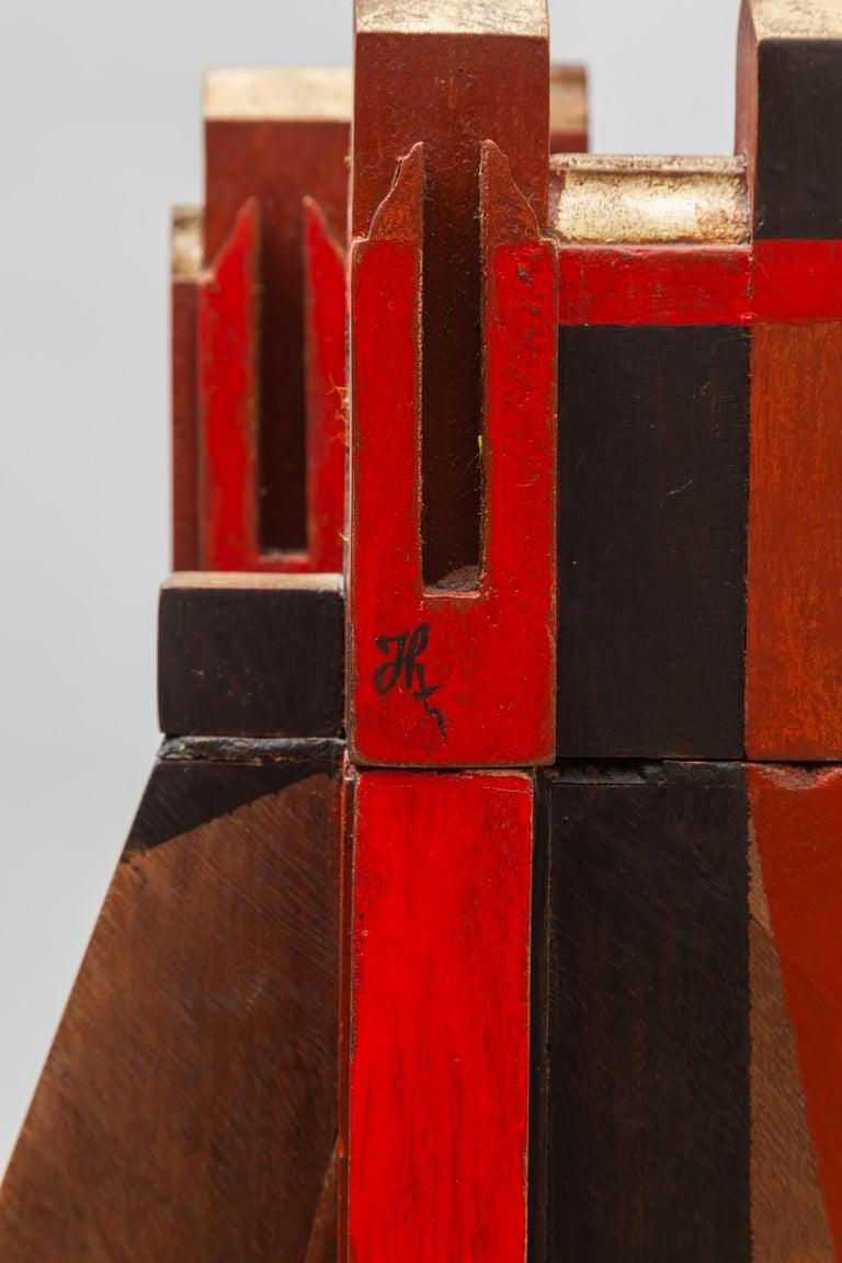 Mid-20th Century Cubist Cityscape Wood Sculpture Mid-Century Modern, Belgium, 1960s For Sale
