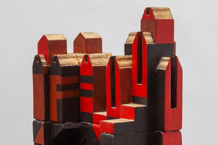 Cubist Cityscape Wood Sculpture Mid-Century Modern, Belgium, 1960s For Sale 1