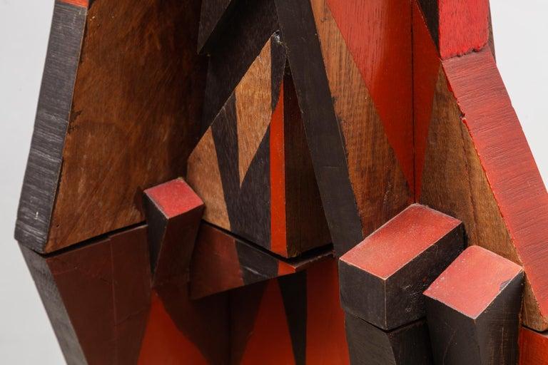Cubist Cityscape Wood Sculpture Mid-Century Modern, Belgium, 1960s For Sale 2