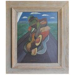 Cubist Painting Jido S. Fujita Aka Sadamitsu Fujit