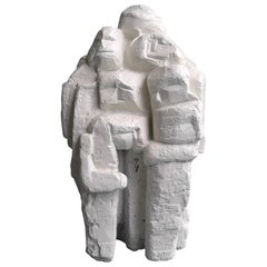 Cubist Decorative White Plaster Sculpture, Group Hug Family, Abstract Art, 1950s