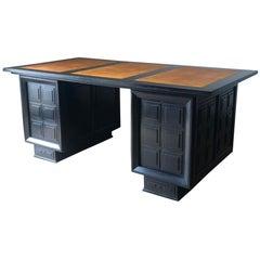 Leather Top On Ebonized Wood Cubist Design Desk, France, 1940s
