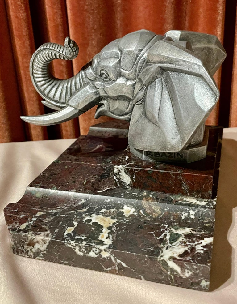 Early 20th Century Cubist Elephant Truck Mascot by Frederick Bazin French 1920s Art Deco For Sale