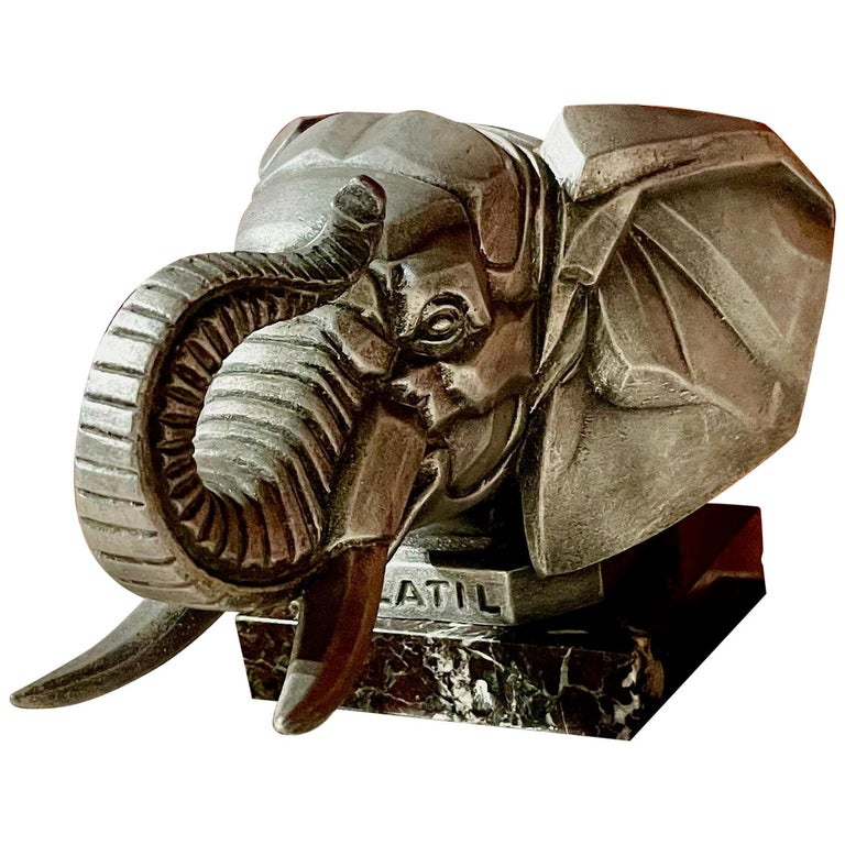 Cubist Elephant Truck Mascot by Frederick Bazin French 1920s Art Deco For Sale