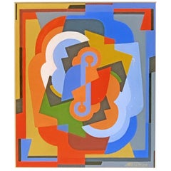 """Cubist Forms in Blue and Red,"" Brilliant Painting by Gleizes, Abstract Cubism"
