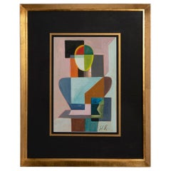 Cubist French Tempera on Paper, 1960