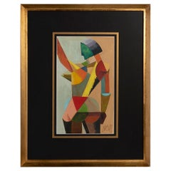 Cubist French Tempera on Paper 1960