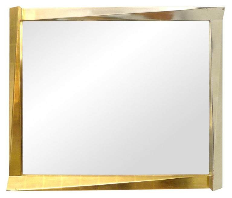 American Cubist Giltwood-Framed Mirror For Sale