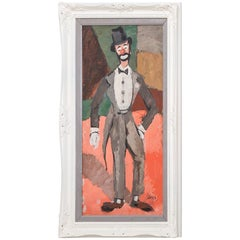 Cubist Inspired Clown Painting by Charles Levier, 1970s