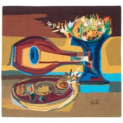 Cubist Inspired Handmade Square French Tapestry Signed 'Forte'