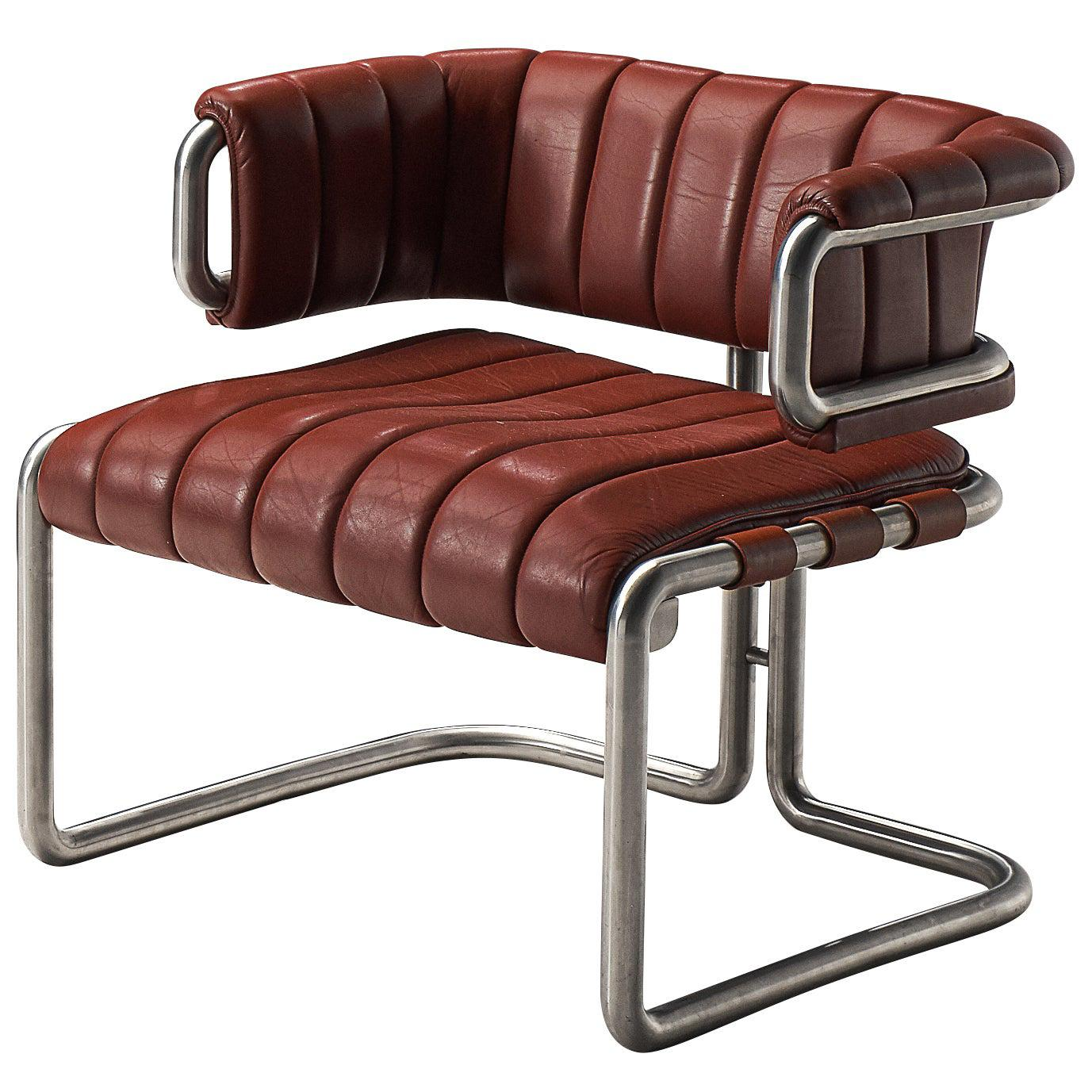 Cubist Lounge Chairs in Red Leather and Tubular Steel
