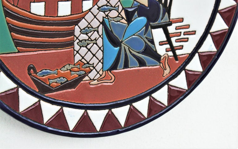 Spanish Cubist Fishing Scene Manises Ceramic Large Wall Plate, 1960s For Sale 4