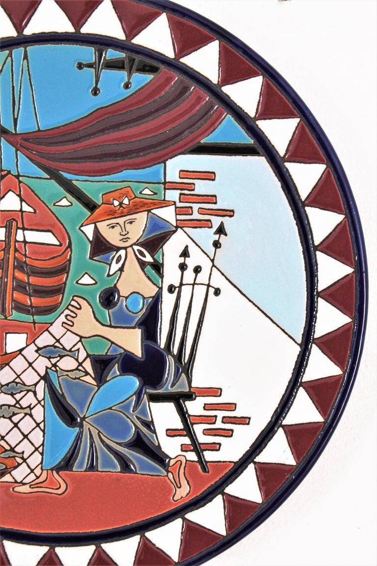 Mid-Century Modern Spanish Cubist Fishing Scene Manises Ceramic Large Wall Plate, 1960s For Sale