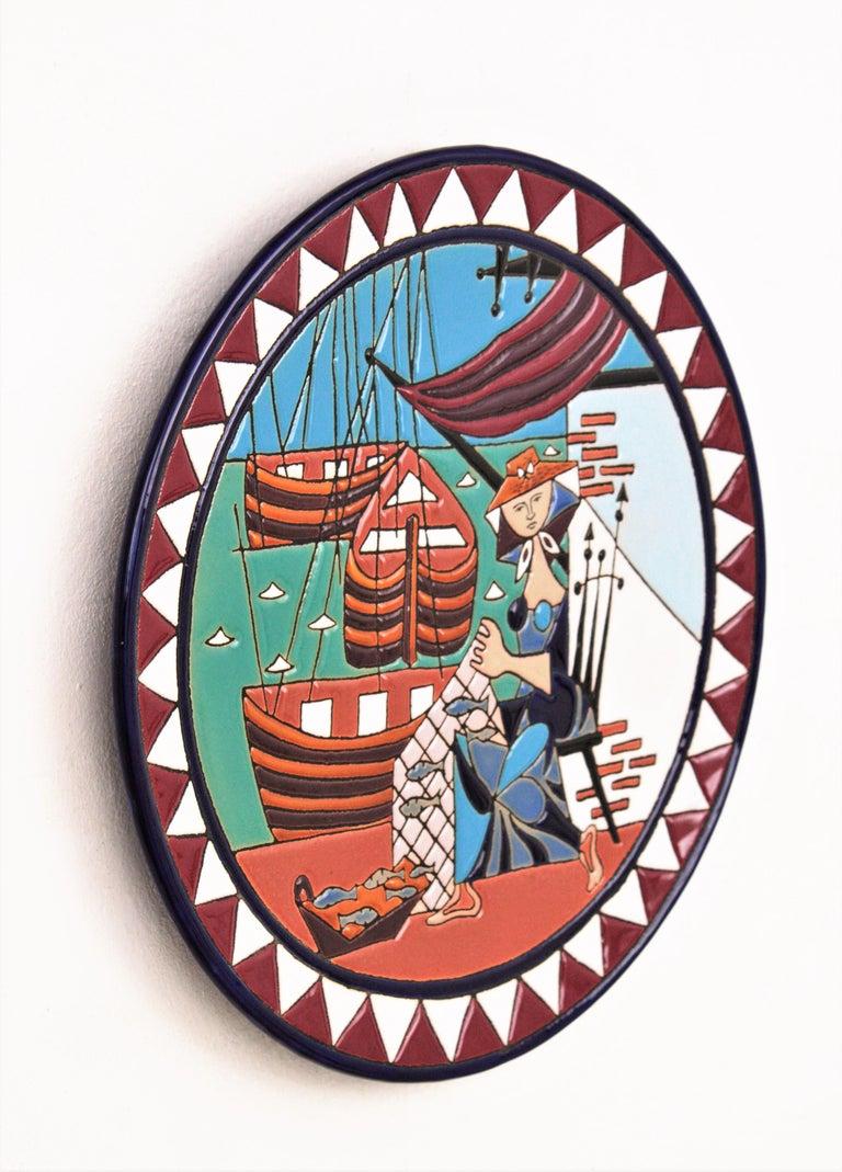 Glazed Spanish Cubist Fishing Scene Manises Ceramic Large Wall Plate, 1960s For Sale