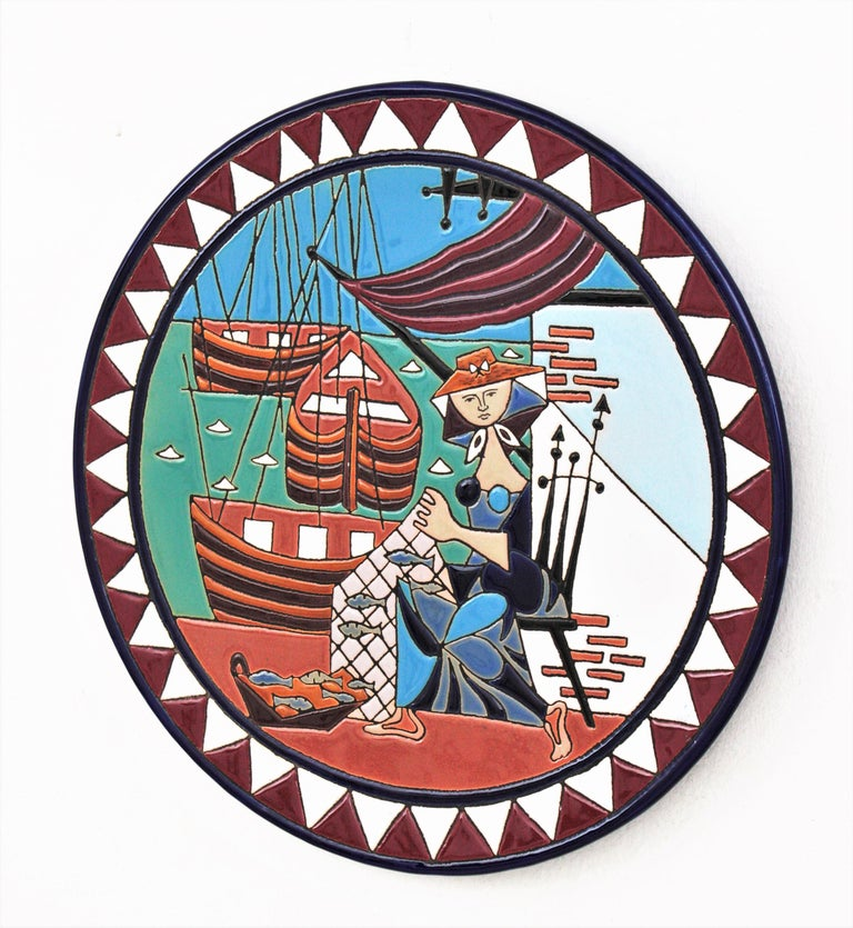20th Century Spanish Cubist Fishing Scene Manises Ceramic Large Wall Plate, 1960s For Sale