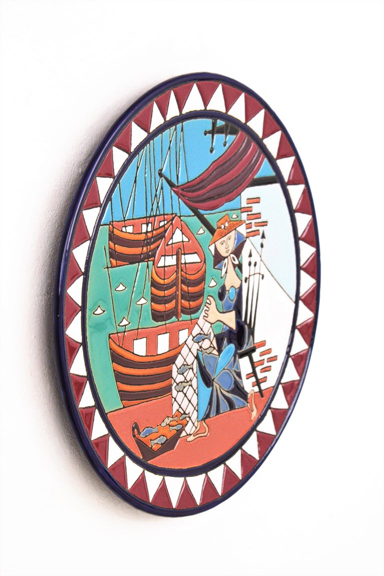 Spanish Cubist Fishing Scene Manises Ceramic Large Wall Plate, 1960s For Sale 1