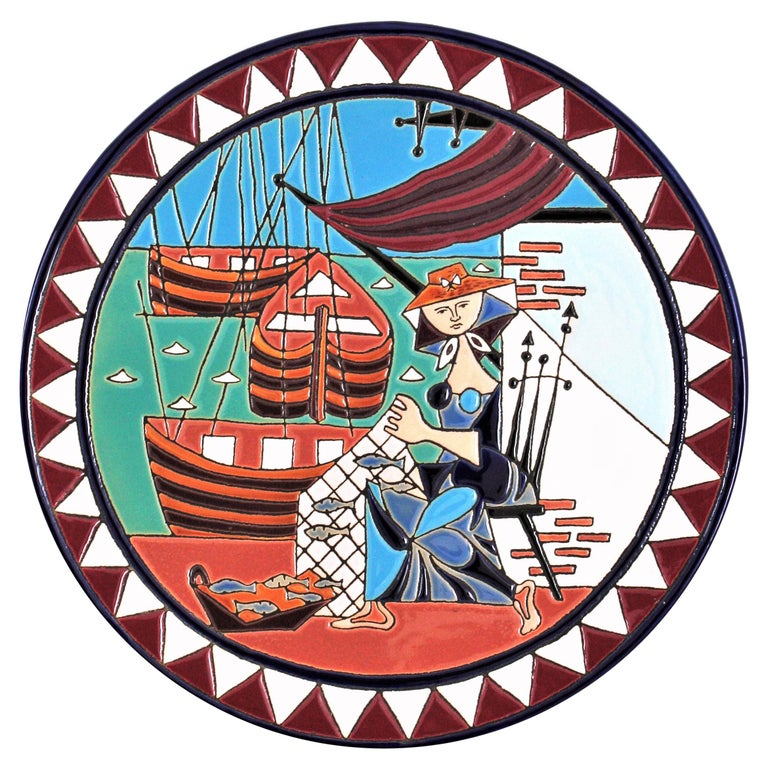 Spanish Cubist Fishing Scene Manises Ceramic Large Wall Plate, 1960s For Sale
