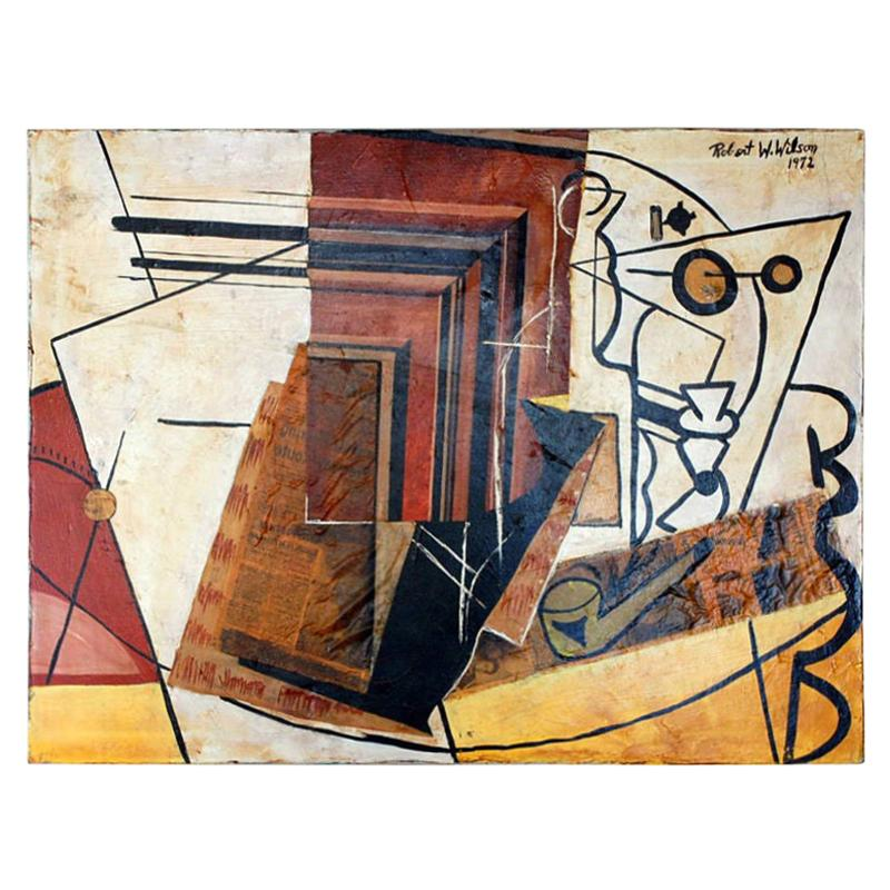 Cubist Mixed-Media Oil Painting by Robert Wilson